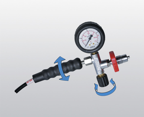 Filling device complete with final pressure gauge